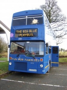 the big blue play bus